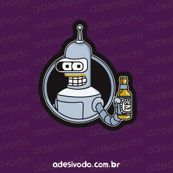 Adesivo do Bender bebendo cerveja