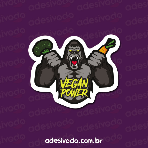 Adesivo do Gorila Vegan Power