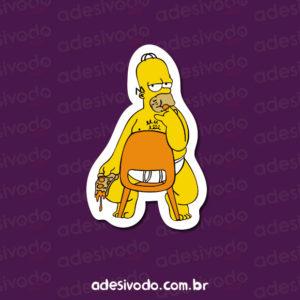 Adesivo do Homer comendo pizza